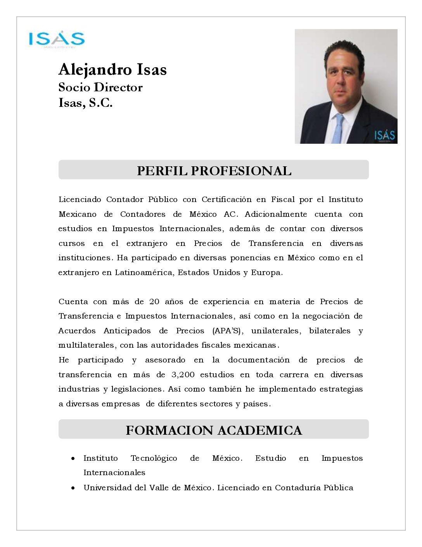 Curriculum Vitae – Alejandro Isás Morales   Expertos Tributarios